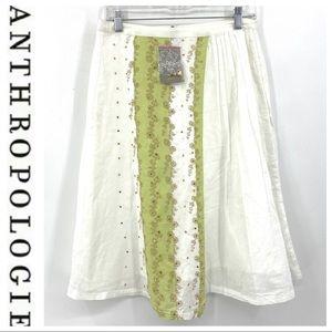 💕SALE💕NWT Anthropologie White Green Sequin Skirt